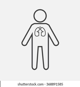 Vector outline contour icon of a person with lungs. Modern Medical vector infographics. lung disease, pneumonia, common cold, infection in the lung