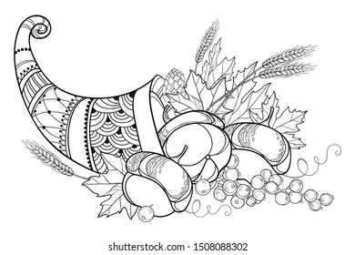 Vector outline Cornucopia or Horn of plenty full of pumpkin, grape, wheat and maple leaf in black isolated on white background. Contour Cornucopia symbol of Thanksgiving Day for fall coloring book.