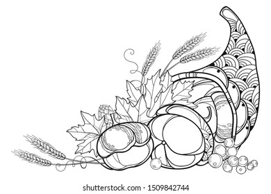 Vector outline Cornucopia or Horn of plenty full of pumpkin, berry, wheat and maple leaf in black isolated on white background. Contour Cornucopia symbol of Thanksgiving Day for fall coloring book.