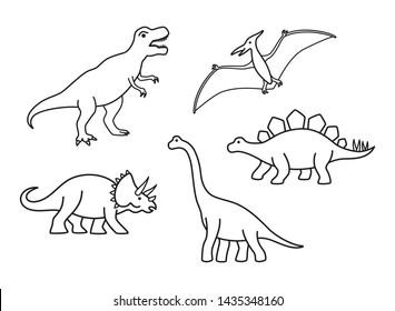 Vector outline dinosaurs - T-rex, Brachiosaurus, Pterodactyl, Triceratops, Stegosaurus. Cute flat dinosaurs isolated on white background