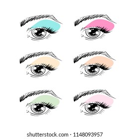 Vector outline eyes with brows, eye lashes and eye shadows for poster, banner, logo, icon. Template for testing makeup colors, any business concept, makeup artist, beauty salon, cosmetic label, visage