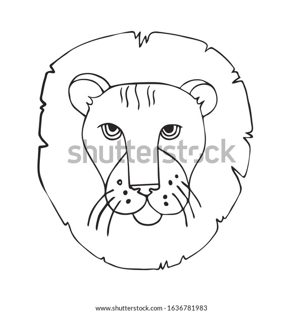Outline Lion Head Cartoon : Lion graphics for cartoon or game characters.