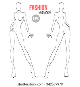 Fashion model template images stock photos vectors shutterstock vector outline girl model template for fashion sketching maxwellsz