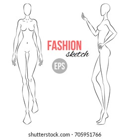 Vector Outline Girl Model Template For Fashion Sketching Illustration Of Womens Figure Designers