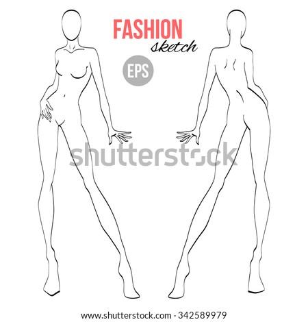 Vector Outline Girl Model Template Fashion Stock Vector (Royalty ...