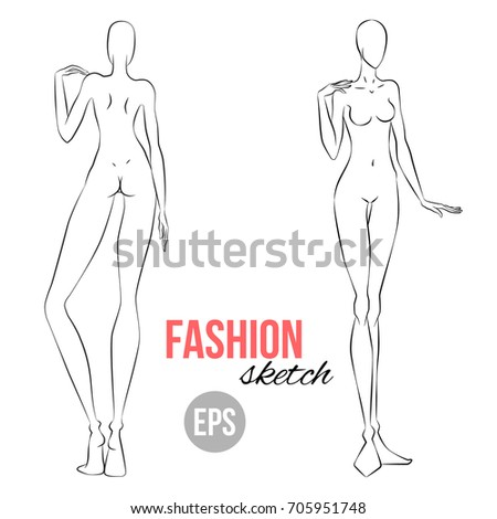 vector outline girl model template fashion のベクター画像素材