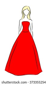 Vector outline of a girl in a red dress on a white background