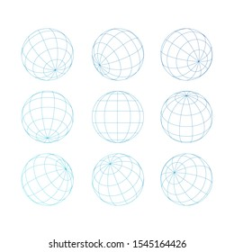 vector outline of a globe with grid design isolated white background on set