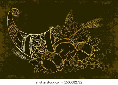 Vector outline gold Cornucopia or Horn of plenty full of pumpkin, grape, wheat and maple leaf on the black background. Contour ornate Cornucopia symbol of Thanksgiving Day for autumn greeting decor.