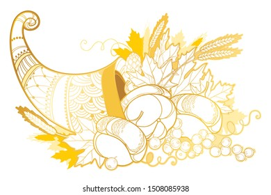 Vector outline gold Cornucopia or Horn of plenty full of pumpkin, grape, wheat and maple leaf isolated on white background. Contour ornate Cornucopia symbol of Thanksgiving Day for greeting decor.