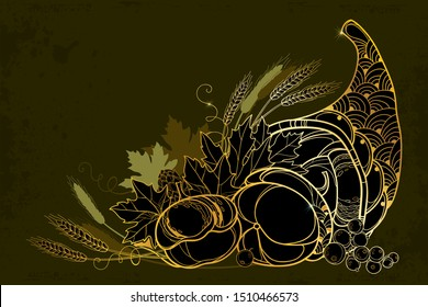 Vector outline gold Cornucopia or Horn of plenty full of pumpkin, berry, wheat and maple leaf on the black background. Contour ornate Cornucopia symbol of Thanksgiving Day for autumn greeting decor.