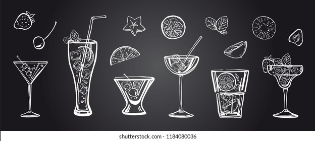 Vector outline hand drawn illustration with different cocktails, fruits and mint leaves on blackboard background