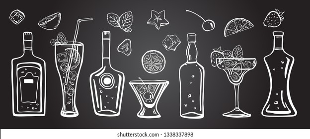 Vector outline hand drawn illustration with different alcohol bottles, cocktails, fruits and mint leaves on blackboard background