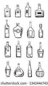 Vector outline hand drawn illustration set with different alcohol bottles on white background
