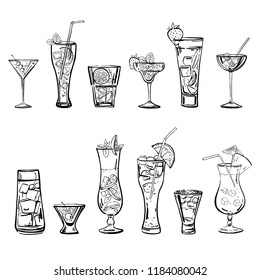 Vector outline hand drawn sketch illustration with different cocktails isolated on white background
