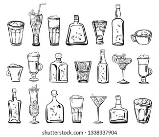 Vector outline hand drawn sketch illustration with different cocktails, coffee drinks and alcohol bottles isolated on white background