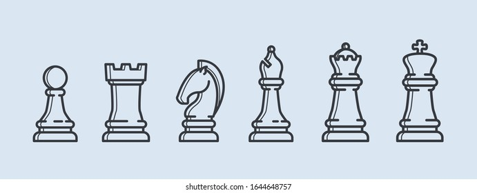 Vector outline icon chess. Chess icons. Chess pieces. Playing chess. King, Queen, rook, knight, Bishop, pawn
