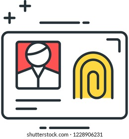 Vector outline icon illustration of biometric id card with photo and fingerprint