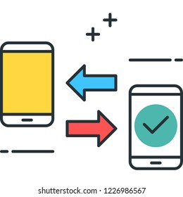 Vector outline icon of two smartphones and arrows, data transfer concept illustration
