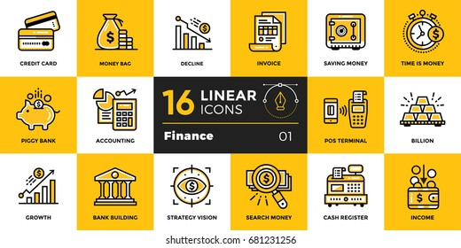 Vector outline icons collection of finance, banking. Modern outline icons for mobile application and web concepts
