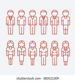 Vector outline icons of people. Man and woman