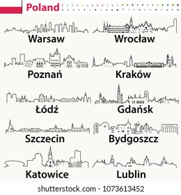 vector outline icons of Poland cities skylines