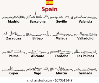 vector outline icons of Spain cities skylines