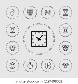Vector outline icons such as hourglass, clock alarm, sundial, clock, digital clock, alarm. editable countdown icons for web and mobile.