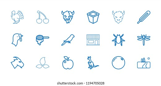 Vector  outline icons such as turkey, orange, honey, dragonfly, beetle, goat, cangaroo, parrot. editable natural icons for web and mobile.