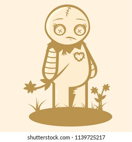 Vector outline illustration of an abstract doll which looks sad.