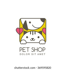 Vector outline illustration of cute muzzle of cat and smiling dog. Logo icon design template. Square shape label. Trendy concept for pet shop or veterinary.