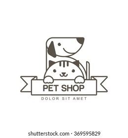 Vector outline illustration of cute muzzle of cat and smiling dog. Logo icon design template. Trendy concept for pet shop or veterinary.