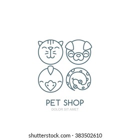 Vector outline illustration of dog head, cat muzzle, bird and snake. Logo, icons set or label design elements. Trendy concept for pet shop, pets care and grooming, veterinary.