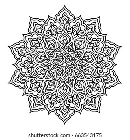 Vector, outline, illustration, mandala, circle, doodle style