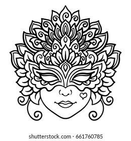 Vector, outline, illustration, mask, carnival, masquerade, holiday, Venice, coloring book, Mardi Gras
