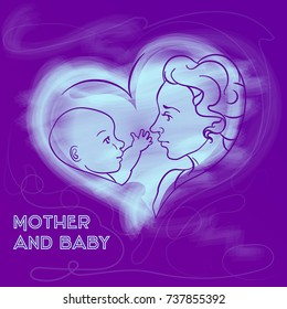 Vector outline illustration of mother and newborn baby with trendy chalk effect . Can be used for care products template, cover, flyer, as symbol of event, advertising or for web.