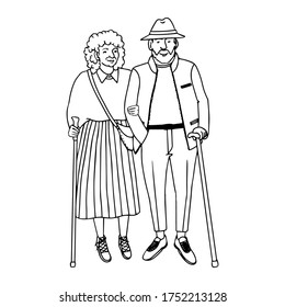 Vector outline illustration of old people walking, isolated on white background