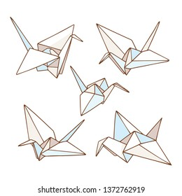 Vector outline illustration of the origami paper crane bird. Set, collection
