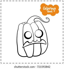 Vector outline illustration of a pumpkin lantern for Halloween with emotion on a white background