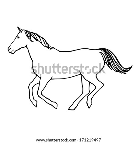 Vector Outline Illustration Running Horse Template Stock Vector
