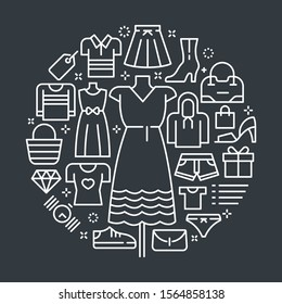 Vector outline illustrations related to clothes and fashion accessories. Vector line arts such as woman and man's fashion, accessories and other wearable device are included in this graphic elements.