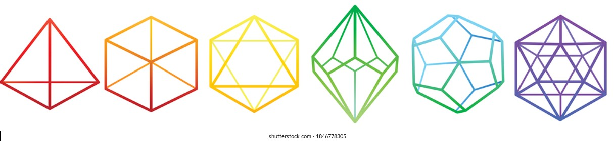 vector outline image of lines of dice with four, six, eight, ten, twelve and twenty faces in different colors