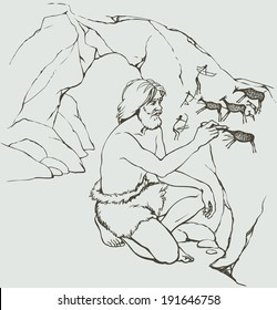 Vector outline image. Primitive old man in loincloth of furry animal skin draws in charcoal on stone wall of the cave paintings of everyday life: tribe hunters shoot bows in deer herd with young fawn