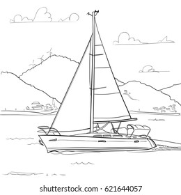 Vector outline image of a yacht sailing on the sea near a mountainous shore. This can be used for coloring.