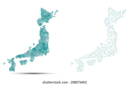 A vector outline of Japan in a polygon style