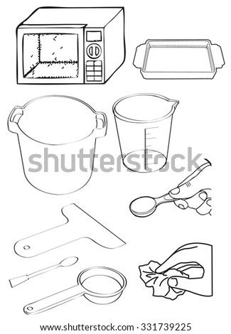 Vector Outline Kitchen Things Stock Vector Royalty Free 331739225