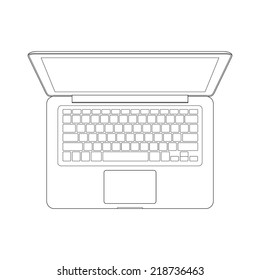 Vector outline of laptop computer.