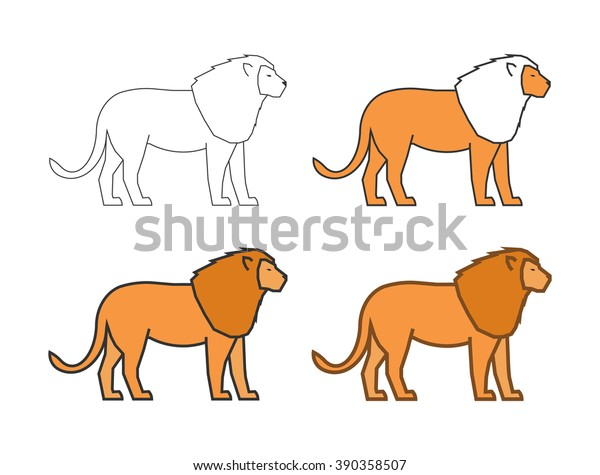Vector Outline Lion On White Background Stock Vector Royalty Free 390358507 Lion face tattoo outlines tattoo maze. shutterstock
