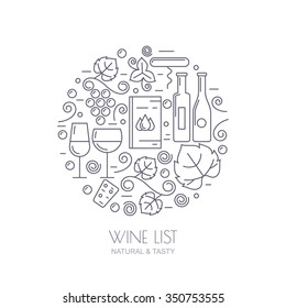 Vector outline logo set and design elements. Wine bottle, glass, grape vine, leaf icons. Food and drink background. Trendy concept for wine list, bar or restaurant menu, natural alcohol drinks.