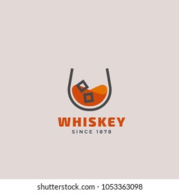 Vector outline logo of whiskey glass. Beverage design template for restaurants, bars, pubs and companies.